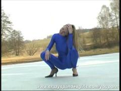 Blonde Katerina spandex strip in snow