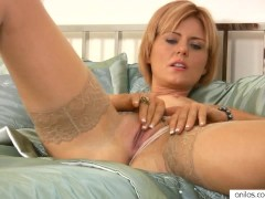 Blonde Housewife Masturbating With Toys