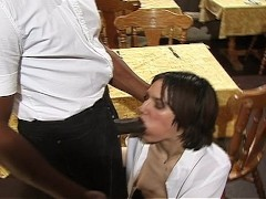 Waiter and waitress set the table for sex