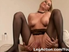 Blonde in stockings gives awesome footjob