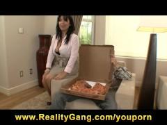 HOT brunette MILF Sienna West fucks her young pizza boy's cock