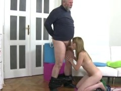 Young czech girl fucking with older fat man while her boyfriend is not at home