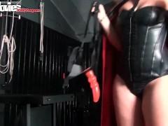 FunMovies German girl pegging her sex slave