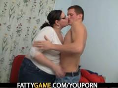 Plump teacher seduces student into sex