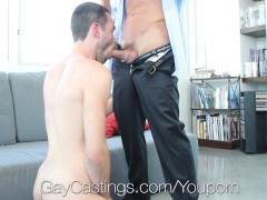 Muscle Daddy Casting Agent Fucks Hot Dude