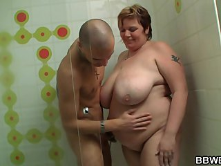 Booty Chubby Fat Girl video: Dude fucks fat lady in the shower cabin