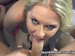 Pro cocksucker bitch Rachel Evans gets into hot oral action for a huge load
