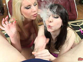 Pornstar Smoking Hand Job video: Best Friends Share a Cigar and Hard Cock