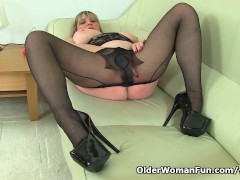 British milf Alisha Rydes wears sexy pantyhose and plays