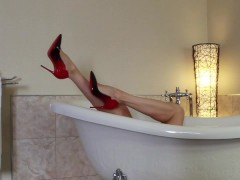 Audrey, Red dress, Louboutin and toy