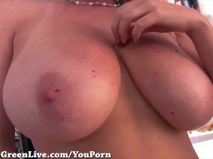 Big Titty Maggie Green Plays in Kitchen!