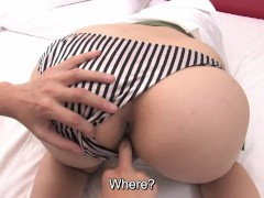 Uncensored Japanese waitress butt inspection and fingering