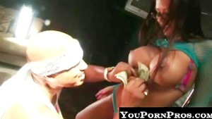 Stripper gets huge cumshot on glasses!