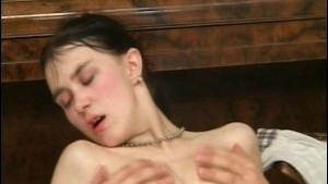 Brunette let s Dick rub his rod in her cock holster