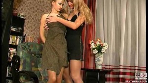 Lesbians in pantyhose loving toys