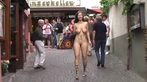 Crazy Redhead Has Fun In Public