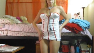 Hot Blonde Strips Out Of Nurse Uniform