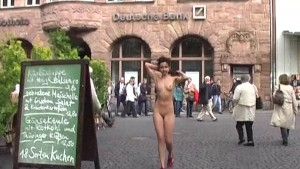 Slim babe naked in streets