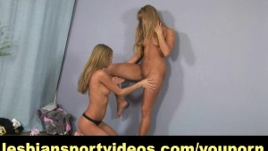 Naked lesbian fitness with strap-on