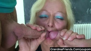 Mature teacher fucked by two