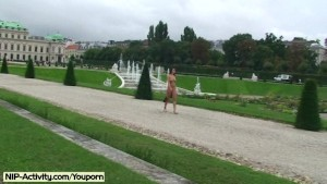 Hot public nudity with sweet brunette