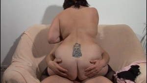 Large and lovely lady sits on a cock