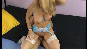Older lady rides on a cock
