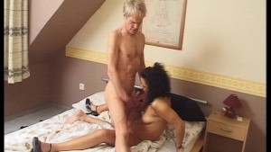 Older man dips his wienie in some young pussy (clip)