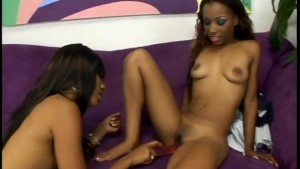 Ebony Hotties Fuck Each Other With Big Dildos