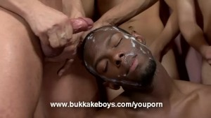 Black Gay Guy Gets Covered in Cum