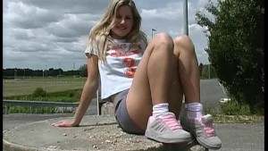 blond Virginie upskirt outdoor