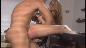 Pushing his thick cock in and out of her pussy