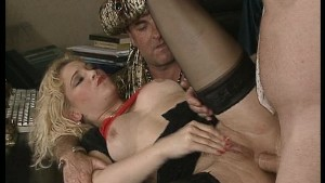 Cute blonde takes on the sultan and his two men. (Clip)
