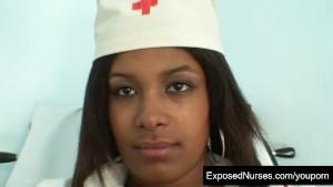 Black nurse Manuela speculum and dildo
