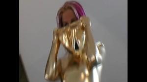 Beautiful Cynthia dressed like alien