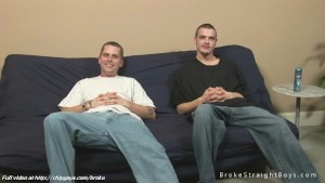 Two horny studs on sofa
