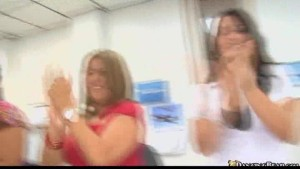 Male Dancing Bear stripper surprises office girls