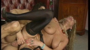 Horny blonde in pantyhose fucked