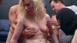 Slutty blonde fucked by group of guys