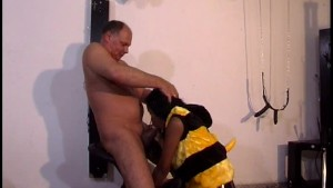 Sexy girl in bee costume gives BJ