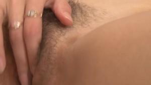 Gloria rubs her aching hairy twat