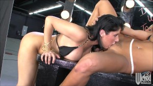 Sexy busty brunette lesbians dildo each other's we