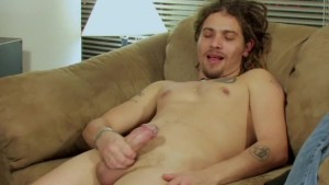 faggot friend masturbating on the couch
