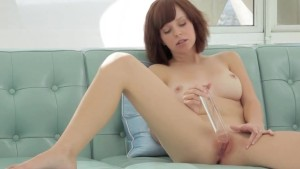 glass dildo in tight pussy