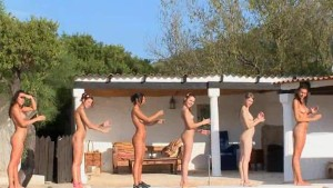 Six naked girls by the pool from italia