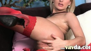 Amazingly hot red stockings and vibrator