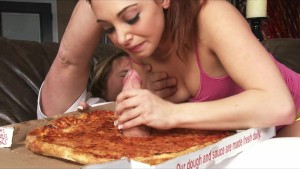 Hot young slutty redhead is fucked by the pizza delivery man