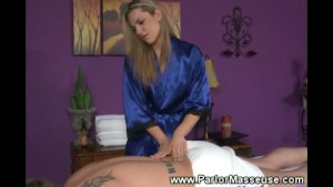 Sexy masseuse loves caressing horny men