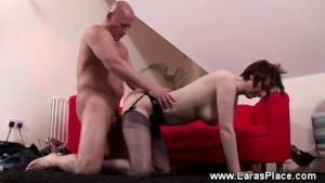 Mature in stockings bumps hard on cock