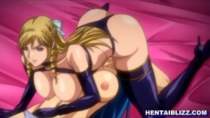 Anime lesbian schoolgirls shaved pussy is filled with a big thick dildo